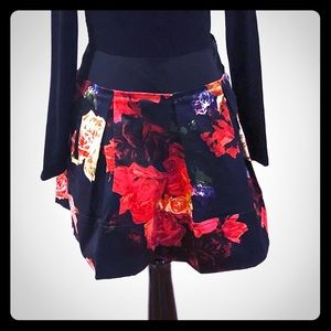Ted Baker Black and Floral Pleated Mini Skirt